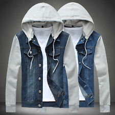 Fashion New Men's Classic Denim Hooded Jean Jacket Hoody Coat Detachable Cap Y