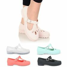 WOMENS LADIES GEEK FLAT T-BAR BUCKLE DOLLY MARY JANE SCHOOL JELLY SHOES PUMPS