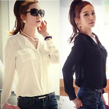 Fashion Womens Button Down Shirt Career Chiffon Top Blouse Long Sleeve OL Blouse
