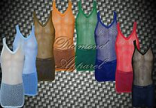MENS STRING MESH VEST FITTED 100% COTTON GYM TRAINING TANK TOP T SHIRT FISH NET