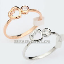 Fashion Heart Ring 18KGP use CZ Rhinestone Crystal Size 5.5-9