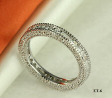 STERLING SILVER CZ STACKED VTG ENGAGEMENT RING  ETERNITY BAND RING SZ5-9 ~ET-6~♛