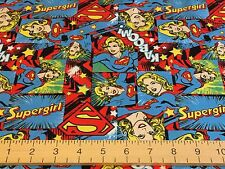 Camelot Cottons Fabric - Supergirl - Super Hero Girl Power DC Comic 100% Cotton