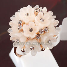 Fashion Party Cluster Flowers Ring 18KGP CZ Rhinestone Crystal