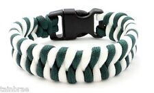 Dark Green and White Stripes Paracord Bracelet with Buckle Choices