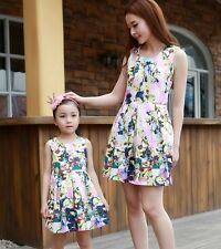 FAMILY sleeveless Vest dress Woman Girl Floral chiffon Dresses Kids Girls Dress