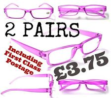 R176 2 x PAIRS Cheap Purple Reading Glasses +1.0+2.0+2.5 FREE 1st Class Postage