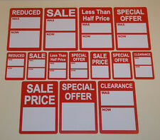 Bright Red SALE REDUCED Price Point Stickers, Clothes Rail Swing Tag Labels