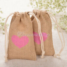 Burlap Gift Bags Jewelry Candy Pounch 12/24/60PCS Hessian Wedding Favor Floral