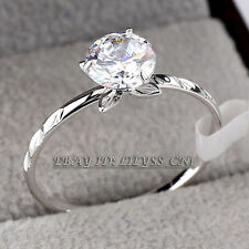 Fashion Solitaire Ring 18KGP CZ Rhinestone Crystal