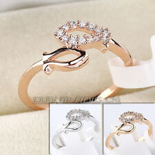 Micrro Inlays Double Fish Fashion Ring 18KGP CZ Rhinestone Crystal Size 5.5-8