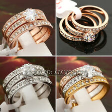 Fashion Ring 3 in 1 18KGP Rhinestone CZ Crystal Size 5.5-9