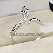 Micro Inlays Snake Fashion Ring 18KGP CZ Rhinestone Crystal Size 6.5-9
