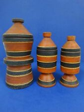 Set of 3 African carved painted wood covered vessels  ~ museum pieces!