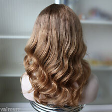 Stock European #12/12/22 Straight with Curls Ombre Human Hair Wig with Silk Top