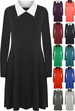 New Womens Plus Size Collar Long Sleeve Short Ladies Flared Swing Dress 16 - 22