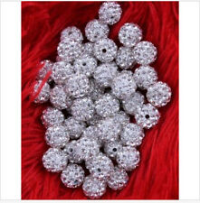 Free Ship 100pcs Disco Ball Pave CZ Crystal Spacer Beads Fit  Bracelet 8-12mm