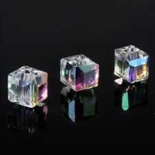 20pcs Clear Crystal Glass Cube Shape Beads Spacer Beads 6mm 29 Color Choose