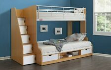 White Trio Bunk Bed With Storage Stairs - 3ft Single 4ft Double | 2 Free Pillows