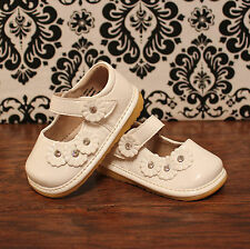 White Toddler Girls Mary Jane Squeaky Shoes RUN SMALL, Sizes 3, 4, 5, 7, 8, 9