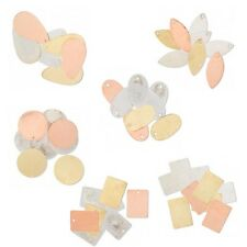8 Assorted Blank Drop Stamping Charms Plated Gold Silver & Copper Brass Metal