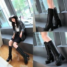 women Fashion Gothic Chunky Heel Ladies Punk Lace-Up Platform Knee-High Boot New