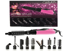 NEW CARMEN HOT AIR HAIR STYLER CURLING IRON STRAIGHT ROLL BRUSH SET PINK C81017P