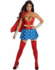 Wonder Woman Super girl sizes 6 8 10 12 Womens Ladies Fancy Dress Costumes