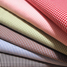 "Gingham 1/8 Checkered Poly Cotton Fabric Prints - 44/45"" - Sold By The Yard"
