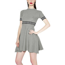 Woman Striped Ribbed Detail Round Neck Short Sleeves A Line Dress