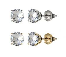10k White or Yellow Gold 6mm Round Lab-Created White Sapphire Stud Earrings