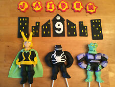 Custom Edible Handmade Superhero Cake Toppers Decorations