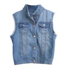 Women Girl Vintage Frayed Cardigan Denim Vest Jean Waistcoat Jacket Outerwear #G
