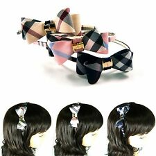 Plaid Grid Tartan Check Double Bow Metal Slim Headband Hairband Piece Accessory