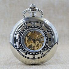 Skeleton Mechanical Pocket Watch Black/Silver/Bronze Roman Number Dial Unisex