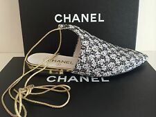 CHANEL CC Logo Black/White Tweed Pointed Toe Lace up Ankle shoes $1,150