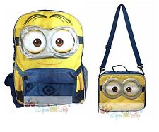 "New Minions Bob 16"" Large School Backpack Lunch Book Bag Set"