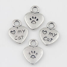 15/30Pcs Tibet Silver Charms Heart&Love Cat Pendants Findings 12*9MM Crafts DIY