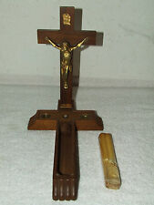 Antique Unused Catholic Last Rites Divinity Sick Call  Wall Crucifix w/ Contents
