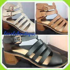 LADIES WOMENS BLOCK HEEL CUT OUT BLACK BROWN BEIGE GLADIATOR STRAPPY SHOE UK 3-8