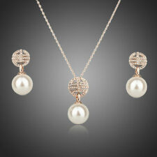 18ct Gold Plated Swarovski Elements Crystal Jewellery Set Pearl Necklace Earring