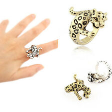 Women Lovely Leopard Cute Lady Animal Alloy Fashion Plated Silver Bronze Ring C