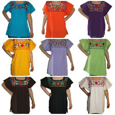 Assorted Peasant Hand Embroidered Mexican Blouse Top 100% Cotton S,M,L,XL,2X,3X