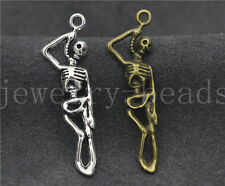 8/30/150pcs Tibet Silver/Bronze 3D skeleton blame Charms Pendant DIY 43x12mm