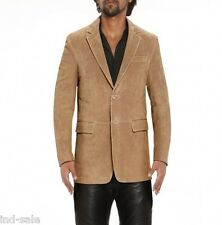 Custom Tailor Made All Size Genuine Suede Leather Blazer Coat Jacket Party Tan