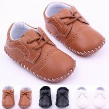 New Toddler Baby girls boys PU Crib Shoes Soft sole Sneaker Size 0-18Months