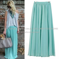 sk78T Celeb Style Flowy Volume Candy Coloured Chiffon Pleated Maxi Long Skirt