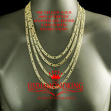 MENS WOMENS 10K AUTHENTIC YELLOW GOLD FIGARO LINK CHAIN NECKLACE 5MM 18~26 INCH