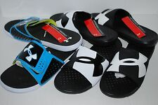 NWT UNDER ARMOUR MEN STRIKE BLACK WHITE BLUE 9 10 11 12 13 shoe sandals slides