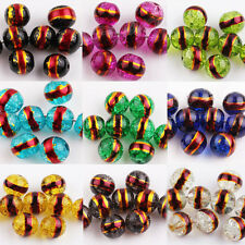20/50Pcs Czech Glass 10 Colors  Loose Spacer Gold Plated Side Round Bead DIY